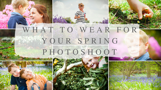 Collage of spring family photography images in Surrey